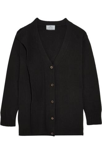 cardigan draped black wool sweater