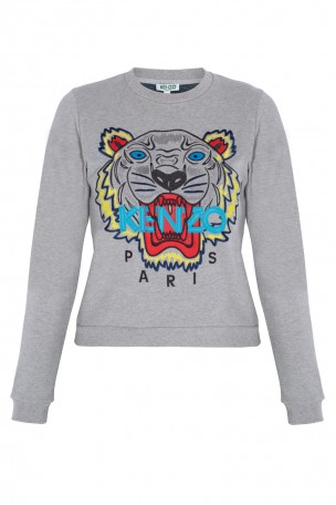 KENZO - Grey Tiger Face Sweater | Boutique1.com
