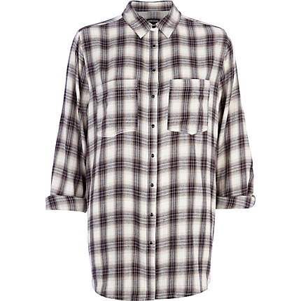 f5efc503 Beige oversized check shirt - blouses / shirts - tops - women
