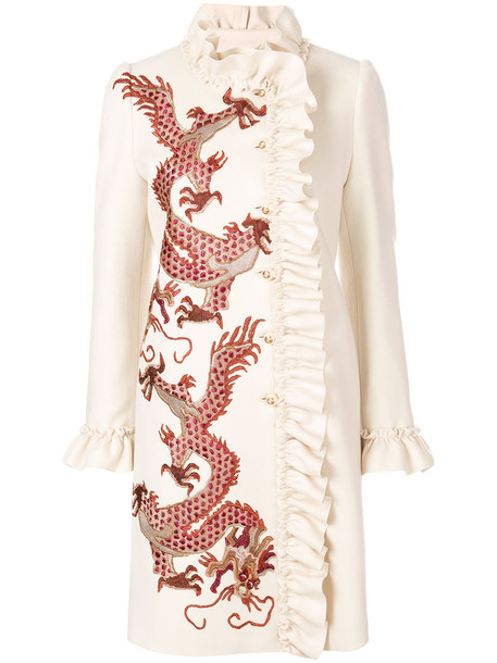 coat embroidered women dragons nude silk wool
