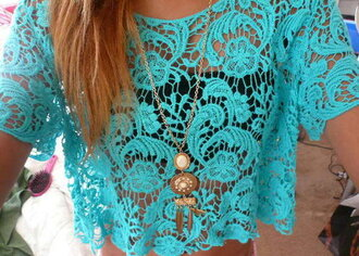 shirt lace lace shirt teal beautiful necklace jewels dreamcatcher necklace lace top blue top see through top