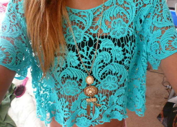 shirt lace lace shirt teal beautiful necklace dream catcher neacklace