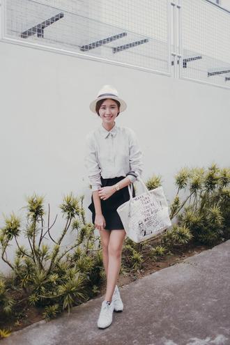 tricia gosingtian blogger top hat skirt shoes bag