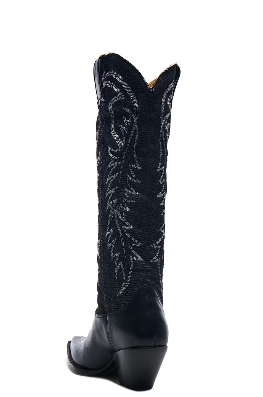 R13 Denim Cowboy Mid Straight Cowboy Boots in Black | FWRD