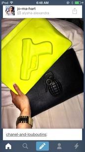 bag,yellow,green,gun,ASAP Rocky,Jay Z,streetwear,handbag,clutch,dope wishlist
