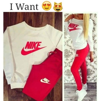 pants nike pink sweater red white nike shoes outfit brand shirt nikr leggings jumper