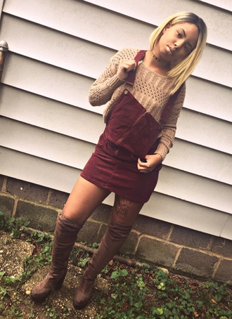 dress pinafore dress overalls burgundy