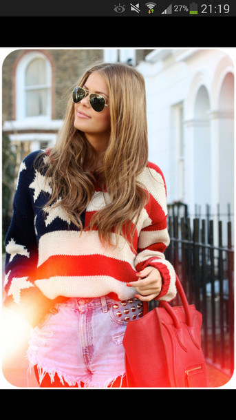 sweater bleu red white american flag