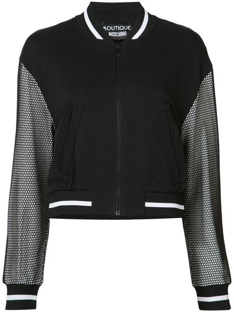 BOUTIQUE MOSCHINO jacket bomber jacket mesh women cotton black