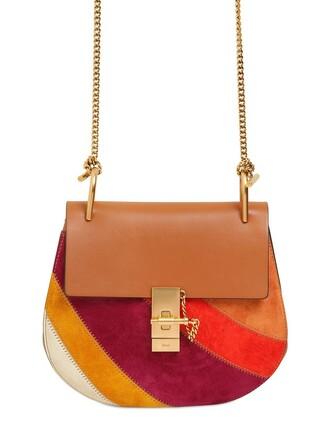 rainbow patchwork bag suede bag suede brown