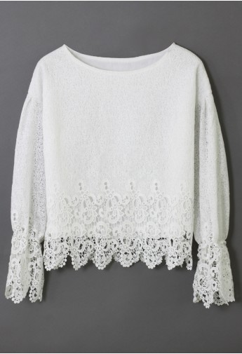 White Crochet Hemline Top  - Retro, Indie and Unique Fashion