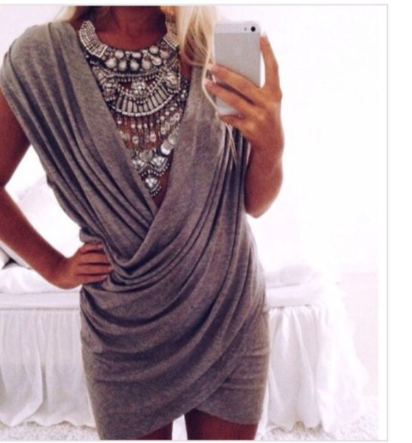 cotton grey dress fall dress knitwear necklace jewels