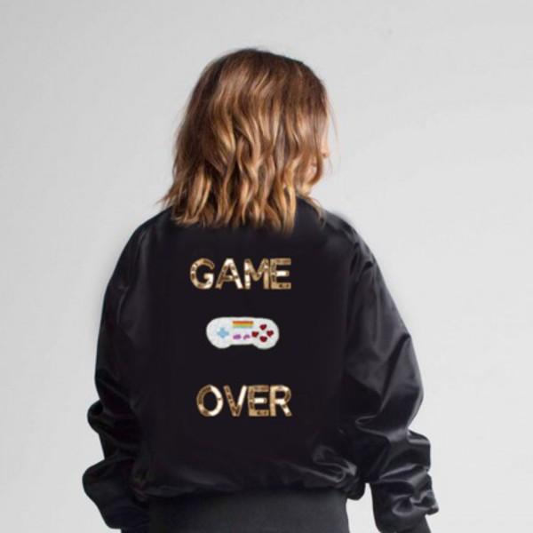 jacket black bomber jacket game boy embellished jacket quote on it gift ideas sequins satin bomber gold sequins embroidered jacket