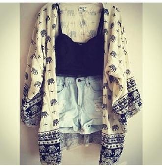 blouse elephant shall elephant shall cover up cute americanstyle american style white black design argyle cardigan lovely jacket
