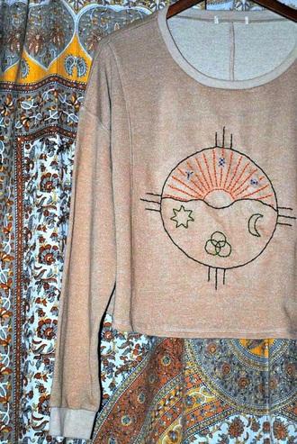 sweater moon sun stars