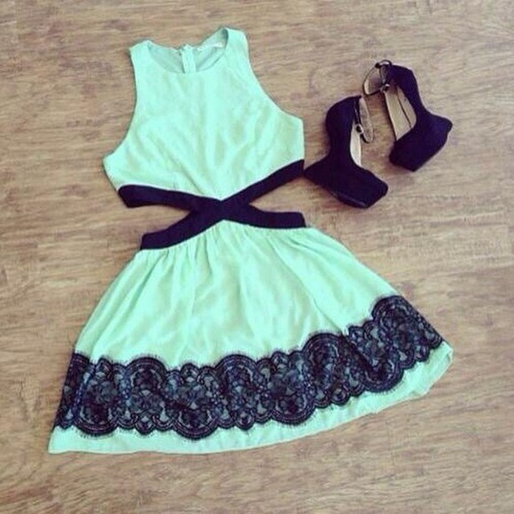 straps green dress side cut out dress shortdress cutedress black band