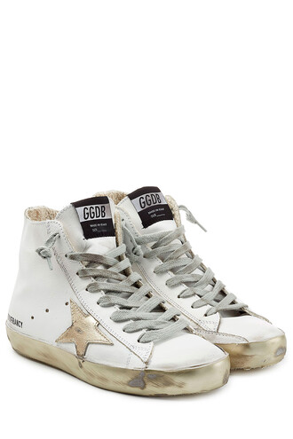 high sneakers leather white shoes