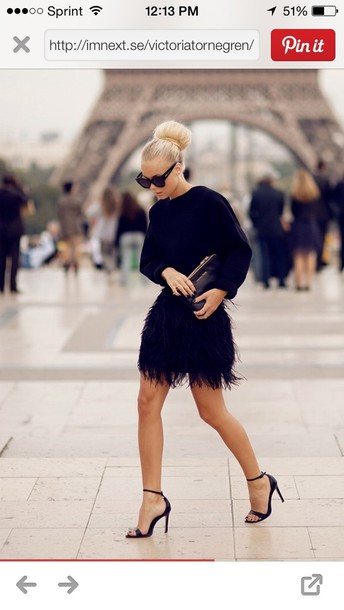 skirt black feather shoes