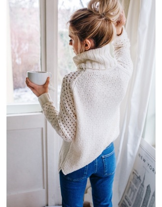 sweater cream cream sweater turtleneck sweater top knot bun bun hairstyles white sweater blue jeans jeans