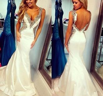 dress white dress sherri hill prom dress long prom dress v cut neck prom dress beadingdress