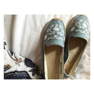 shoes soludos blue espadrilles embroidered flats revolve clothing revolve revolveme