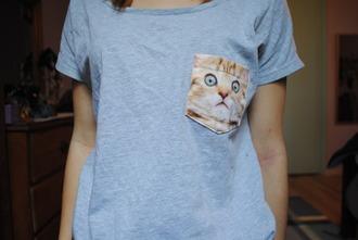t-shirt blue cats grey t-shirt
