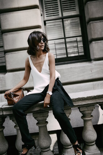 le fashion image blogger sunglasses top bag pants shirt asymmetric shirt white shirt v neck asymmetrical top black pants sandals high heel sandals sandal heels brown bag streetstyle