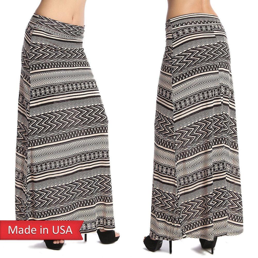 Beige ivory black aztec tribal zigzag chevron print rayon print maxi skirt usa