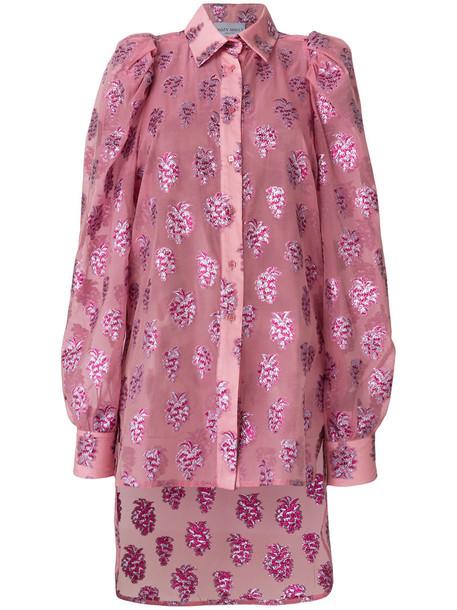 Daizy Shely shirt metallic women silk purple pink top