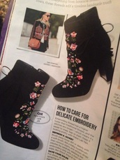 shoes,embroidered boots,ankle boots,black boots
