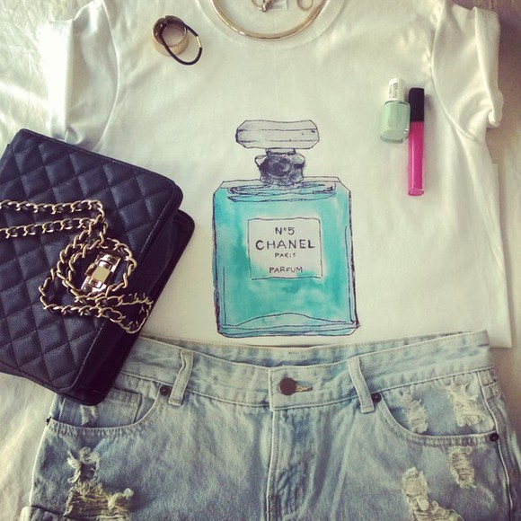 aqua blue cute t-shirt chanel chanel perfume bottle aquamarine ripped shorts blouse top rolled sleeves denim shorts perfume shaped perfume bottle tumblr ootd OOTD lotd girly