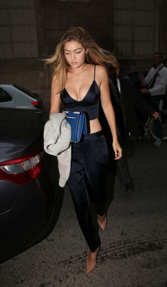 top gigi hadid crop tops fashion week pumps pants