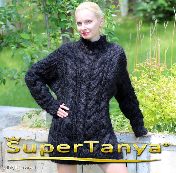 Thick black hand knitted mohair sweater with cables by supertanya