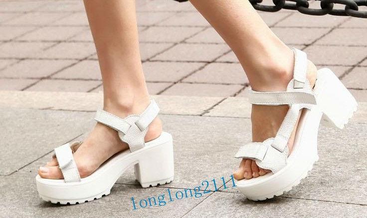 Women's Cow Leather Chunky Heels Velcro Belt Buckle Platform Shoes Sandals XX81 | eBay