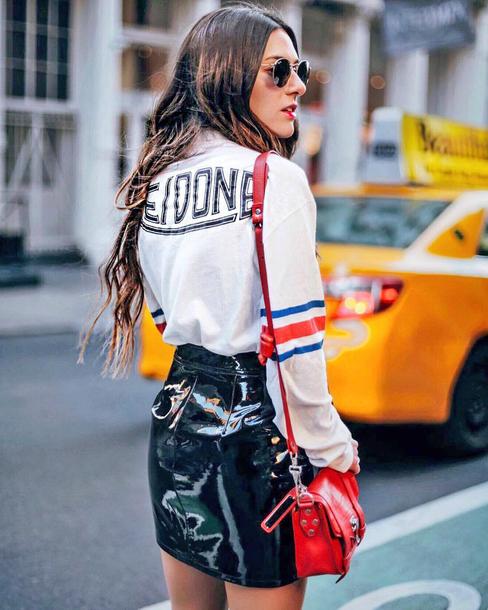 top tumblr white top skirt mini skirt vinyl vinyl skirt black skirt bag red bag sunglasses