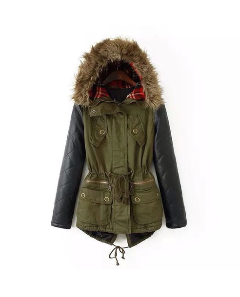 coat fur hood army green jacket jacket parka patchwork flannel fluffy black green winter outfits warm