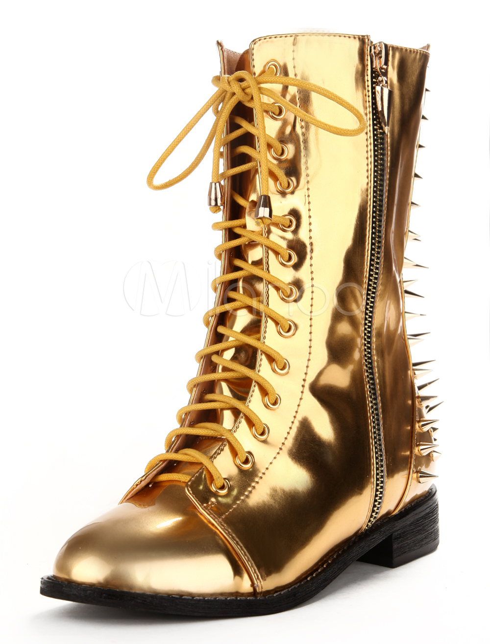 Gold Spikes Metallic PU Leather Lace Up Boots For Women - m ...