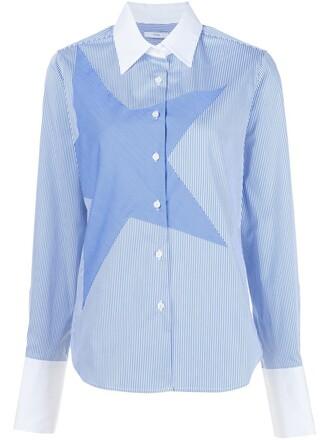 shirt satin blue top