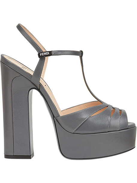 Fendi strappy women sandals platform sandals grey shoes