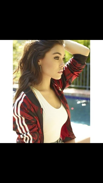 jacket adidas sportswear comfy roses red stripes zipped madison beer printed jacket