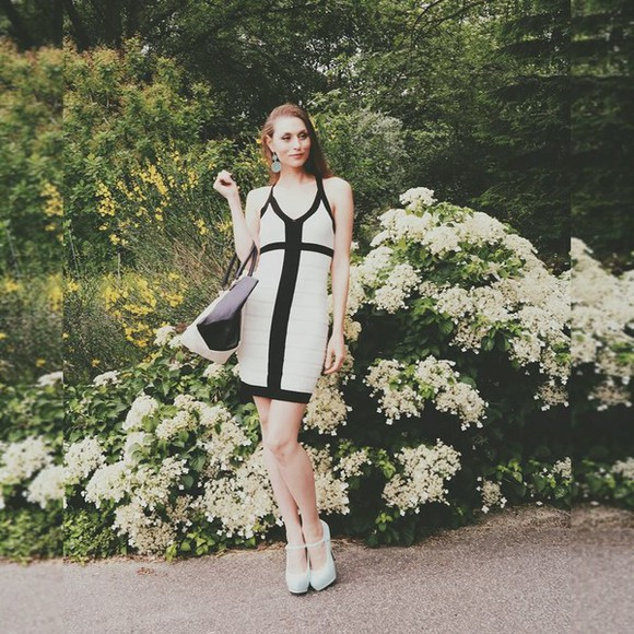 shoes bag dress black and white mint classy