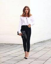 jeans,tumblr,black jeans,lace up,top,white top,off the shoulder,off the shoulder top,bag,pumps