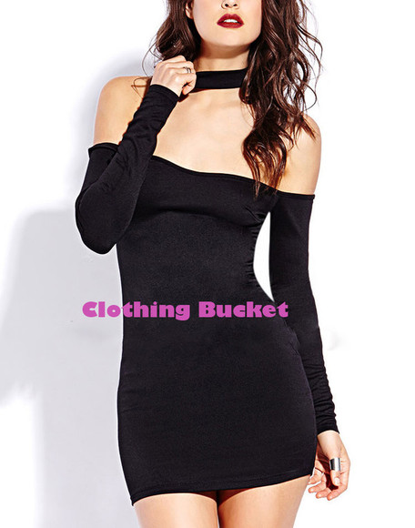 halter dress little black dress mini black mini dress off shoulder off shoulder dress sexy look bodycon dress fit dress long sleeve body con dress clubwear party happy happiness hit look