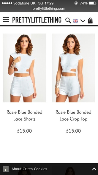 top two-piece blue lucymeck pretty outfit crop tops shorts summer