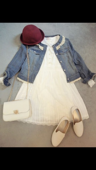 bold hat white bag white dress denim jacket white shoes fashion cute dress cute outfits girly clothes coat lace style slip on shoes purse gold shoes