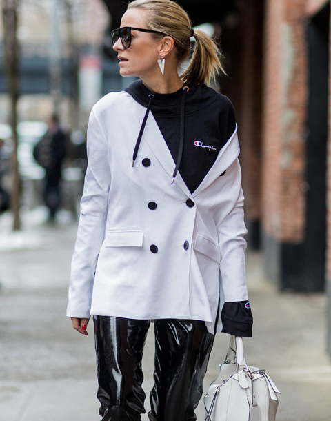jacket,nyfw 2017,fashion week 2017,fashion week,streetstyle,blazer,white blazer,hoodie,black hoodie,champion,athleisure,sunglasses,earrings,jewels,jewerly,pants,black pants,leather pants,vinyl,black vinyl pants