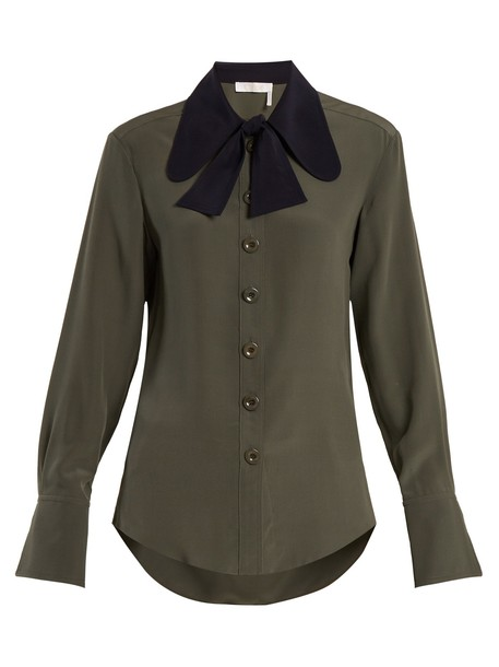 Chloe shirt silk green top