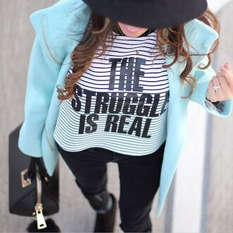 shirt stripes black and white stripes black and white striped the struggle is real graphic tee graphic top graphic shirt black jeans black ripped jeans black fedora black hat mint mint coat mint jacket 28719
