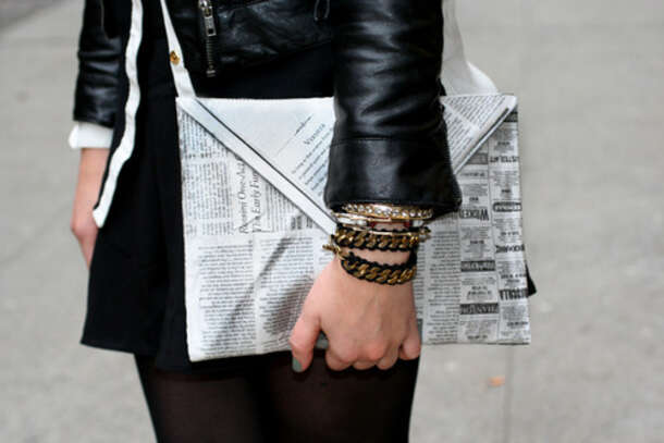 Bag: newspaper, clutch, newspaper clutch, tumblr, large clutch ...