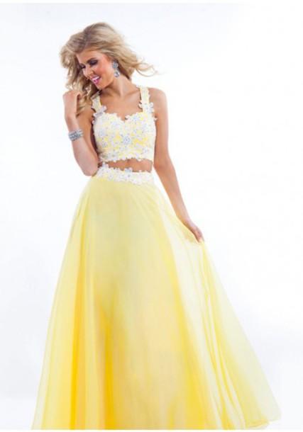 yellow dress lace short